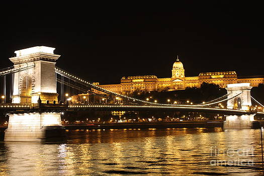 Nights of Danube- Chain Bridge Budapest by Mahsa Watercolor Artist