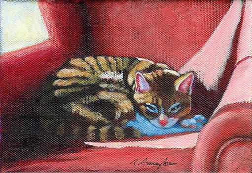 Nikos on Red Chair by Rachel Armington