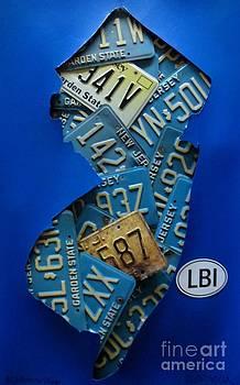 NJ Blue Background LBI Collage by Sandra Spincola