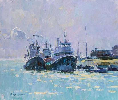 Noon at the port  by Aleksander Kryushyn