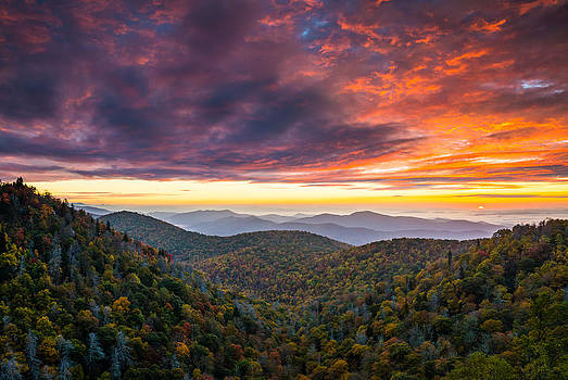 North Carolina Blue Ridge Parkway Autumn at East Fork by Dave Allen