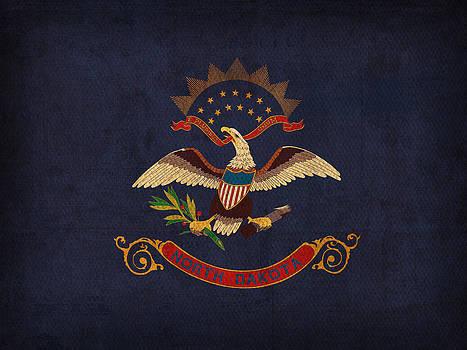 Design Turnpike - North Dakota State Flag Art on Worn Canvas