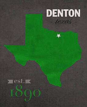 Design Turnpike - North Texas University Mean Green Denton College Town State Map Poster Series No 078