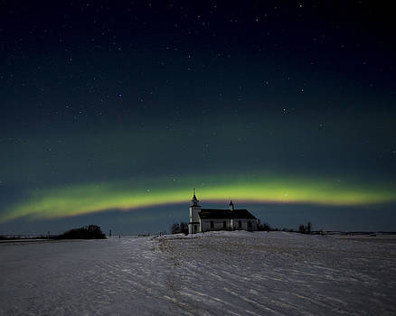 Northern Lights over church by Gerald Murray Photography