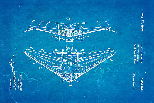Ian Monk - Northrop All Wing Airplane Patent Art 1946 Blueprint