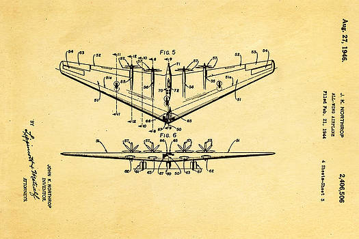 Ian Monk - Northrop All Wing Airplane Patent Art 3 1946