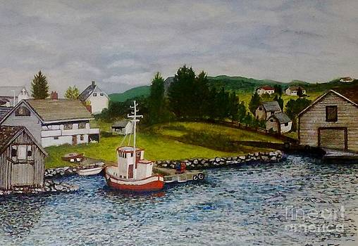 Norwegian Fishing Village by Julie Jules Grant-Field