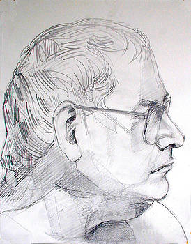 Graphite portrait life drawing sketch Not so young anymore by Greta Corens