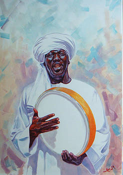 Nubian musician player playing Duff by Ahmed Bayomi
