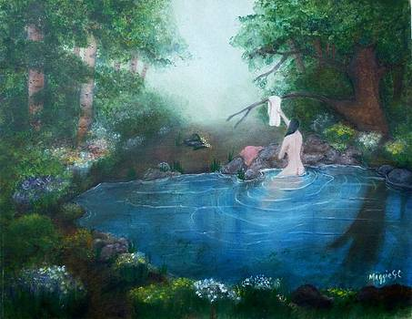 Nude bathing in Pond by Maggie  Cabral