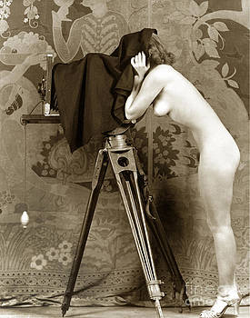 California Views Archives Mr Pat Hathaway Archives - Nude in high heel shoes with studio camera circa 1920