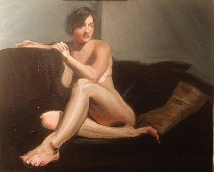 Nude on Couch with Pillow by Laura Skoglund