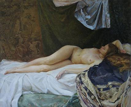 Nude with tapestry by Korobkin Anatoly