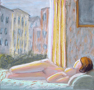 Nude with Yellow Curtain by Don Perino
