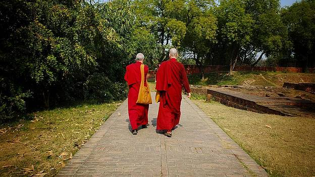 Nuns in Sarnath by Greg Holden