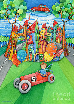 Nursery Artwork Children Car by Sonja Mengkowski