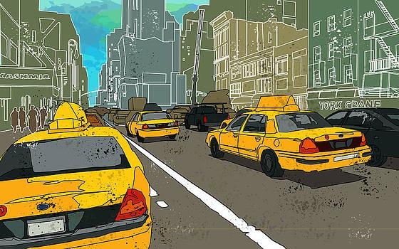 NY Cabs by Adz Akin