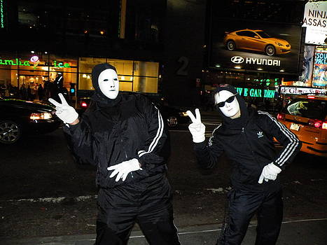 Mime in times square by Judith Sweeney