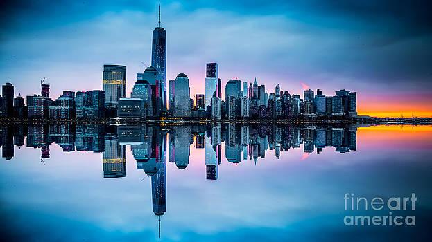 NY Skyline Dawn Reflection by Jim DeLillo