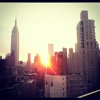 #nyc #nofilter #empirestate #sunset by Matthew Tarro
