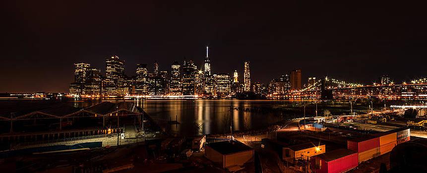 NYC Skyline at Night by Ramon Nuez