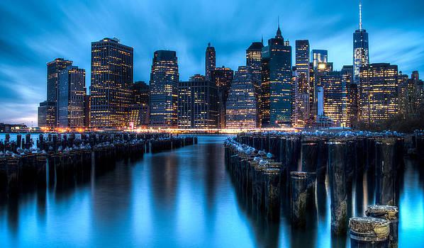 NYC Skyline in Blue by Ramon Nuez
