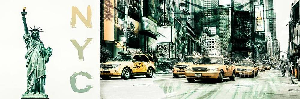 Hannes Cmarits - NYC-Yellow Cabs and Lady Liberty 3x1-  2