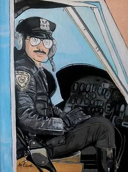 NYPD Highway Patrol in Chopper by Maggie  Cabral