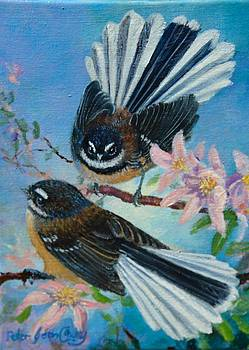 NZ Fantails on Clematis by Peter Jean Caley