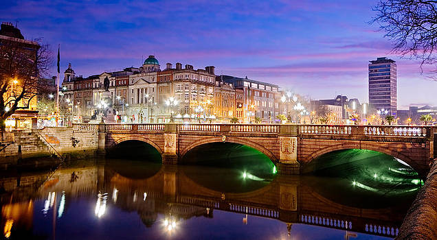 O Connell Bridge at Night - Dublin by Barry O Carroll