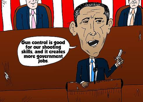 Obama caricature on guns and gov't jobs by OptionsClick BlogArt