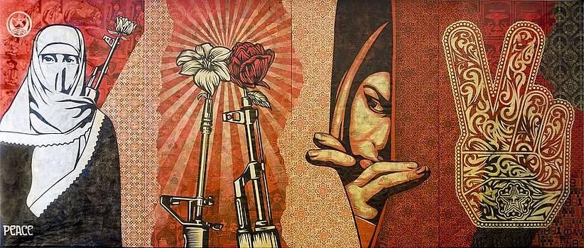 Obey Peace Middle East Wall Collage by Arik Bennado & Arik Bennado - Artwork for Sale - Lithgow - Australia