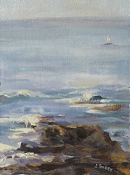 Ocean rocks with sailboat by Joyce Snyder
