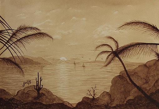 Ocean Rocky Coast Sunset Original Coffee Painting by Georgeta Blanaru