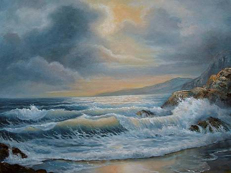 Ocean under the evening glow by Regina Femrite