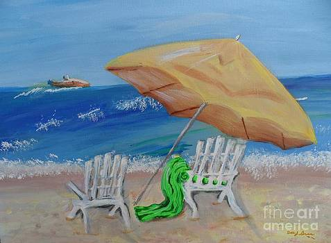 Ocean View Under The Yellow Beach Umbrella by Bobbi Groves