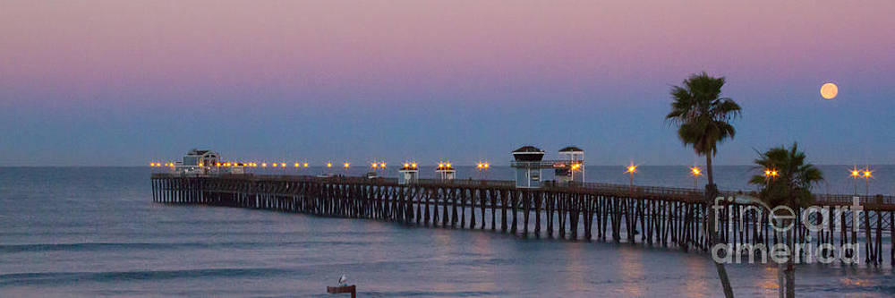 Oceaside Pier and the Full Moon by Les Abeyta