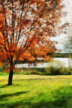 October At Evergreen Lake by Michael Flood