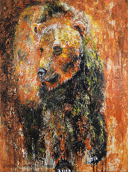 Abstract Bear Painting October Bear by Jennifer Morrison Godshalk