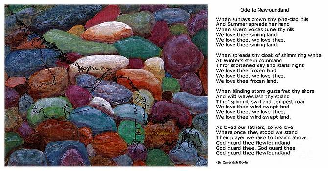 Barbara Griffin - Ode to Newfoundland and Black Map on Beach Rocks