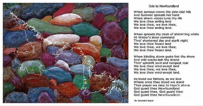 Barbara Griffin - Ode to Newfoundland and White Map on Beach Rocks