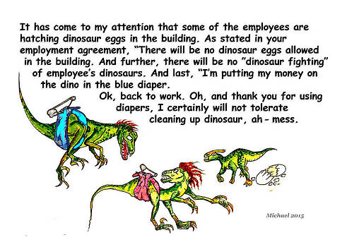 Office Dinosaur Greeting Card Employer by Michael Shone SR