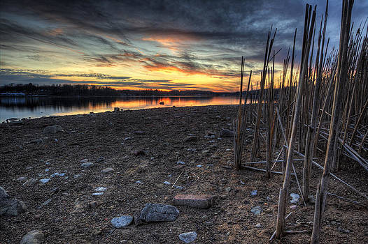 Ohio Winter Sunset on Guilford Lake by David Dufresne