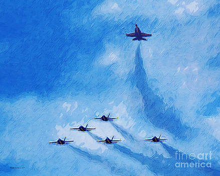 Oil Painting of Blue Angels Missing Man by Margie Middleton