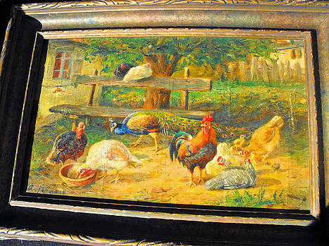 Oil painting on canvas signed in LLQ A. Hoffmann representing a farm scene by A Hoffmann