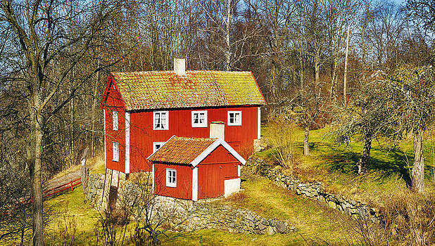 Old 17th Century Cottage Set In Rural Nature Landscape by Christian Lagereek