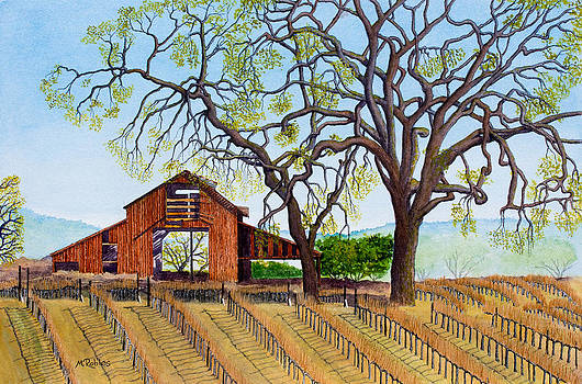 Old Barn and Oaks by Mike Robles