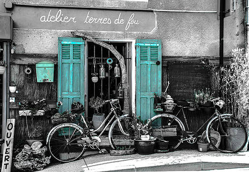 Old bicycles and blue shutters by Dany Lison