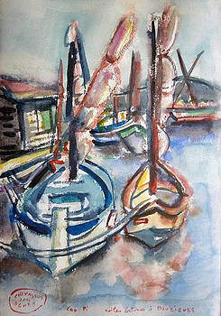 Old Boats At Bouzigues by Chevassus-agnes Jean-pierre