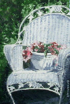 Old Chair and Flowers by Elizabeth Crabtree